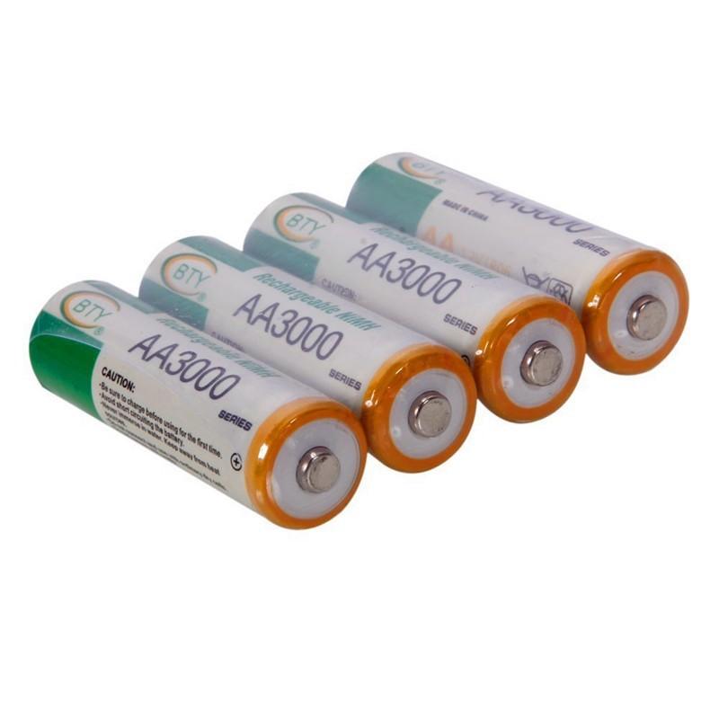 4 Pilhas Ni-MH AA 3000mAh 1.2V Recarregáveis
