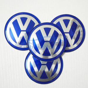 4 Centros De Jante Volkswagen Azul Emblema VW 90mm
