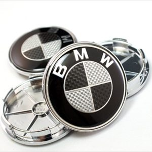 4 Centros De Jante Preto Emblema BMW 68mm Carbono