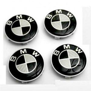 4 Centros De Jante Preto Emblema BMW 68mm