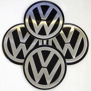 4 Centros De Jante Volkswagen Preto Emblema VW 90mm