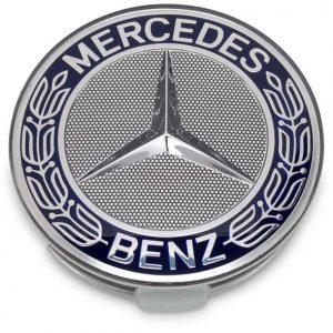 4 Centros De Jante Mercedes Benz 75mm Azul
