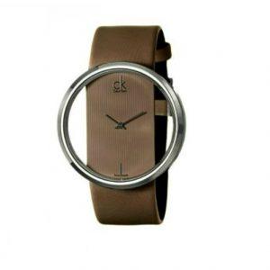 Relógio Calvin Klein Castanho Bracelete Pele Genuína