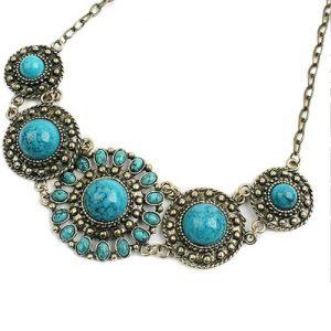 Fio Colar Estilo Vintage Azul Colares Mulheres Moda