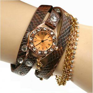 Relógio Quartz Bracelete light coffe em Pele Hawaiian