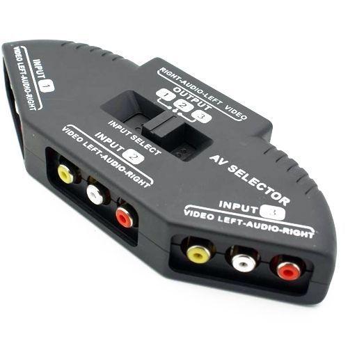 Switch Splitter Seletor Video Áudio 3 RCA AV PS2 Xbox